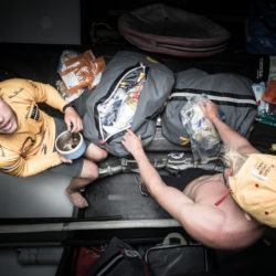 "February 23, 2015. Leg 4 to Auckland onboard Abu Dhabi Ocean Racing. Day 15. Caught red-handed. The raiding of the spare food bags has begun.  Luke ""Parko"" Parkinson and Alex Higby."