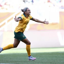 (150613) -- WINNIPEG, June 13, 2015 (Xinhua) -- Australia's Kyah Simon celebrates after scoring her second goal against Nigeria during their group D match at the 2015 FIFA Women's World Cup in Winnipeg, Canada, June 12, 2015. Australia won the match 2-0. (Xinhua/Ding Xu)