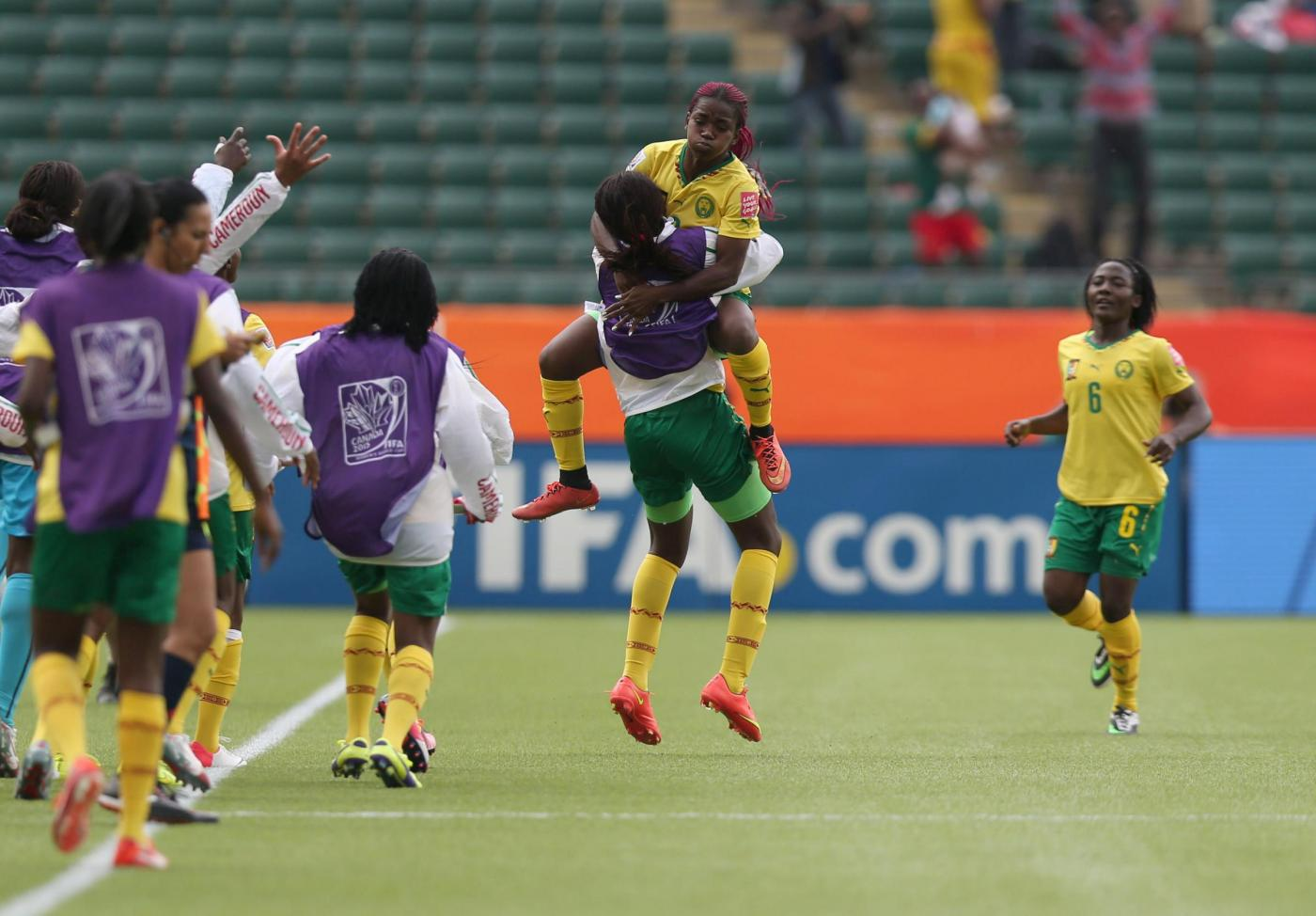 (150617) -- EDMONTON, June 17, 2015 (Xinhua) -- Madeleine Ngono Mani (above) of Cameroon celebrates for score during the group C match against Switzerland at the 2015 FIFA Women's World Cup in Edmonton, Canada, June 16, 2015. Cameroon won 2-1 and was qualified for the round of 16. (Xinhua/Qin Lang)