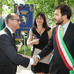 Daniele Bottallo / La Presse 18-06-2015  sport, calcio Juventus - inaugurazione giardino Piero Rava nella foto: un momento dell'evento, Gianluca Pessotto, Andrea Gallo  Daniele Bottallo / La Presse 18-06-2015  sport, soccer Juventus - opening the garden Piero Rava in the picture: a moment of the event, Gianluca Pessotto, Andrea Gallo