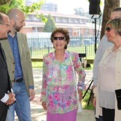 Daniele Bottallo / La Presse 18-06-2015  sport, calcio Juventus - inaugurazione giardino Piero Rava nella foto: un momento dell'evento, Gianluca Pessotto, Giovanna Rava, Carla Rava  Daniele Bottallo / La Presse 18-06-2015  sport, soccer Juventus - opening the garden Piero Rava in the picture: a moment of the event, Gianluca Pessotto, Giovanna Rava, Carla Rava