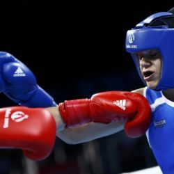 Camilla Jensen of Denmark and Valentina Alberti of Italy (R) fight during their 64kg women's Light Welter weight boxing quarterfinals fight at the 1st European Games in Baku, Azerbaijan, June 23 , 2015.  REUTERS/Kai Pfaffenbach