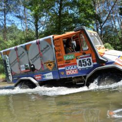 "Rallye Breslau Polen 2015 Hanspeter Karches und Bernd Regensburger in Unimog U 100 L Sieger in Kategorie ""Small Truck Cross Country"". Fotograf: Paolo Baraldi"