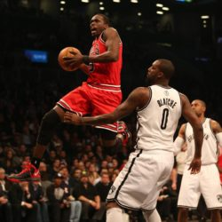 April 22, 2013 - New York, New York, U.S - Chicago Bulls small forward LUOL DENG, left, soars to the basket in front of Brooklyn Nets center ANDRAY BLATCHE during the first half in Game 2 of the NBA Eastern Conference playoffs at the Barclays Center. LaPresseOnly Italy