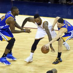 Jun 16, 2015; Cleveland, OH, USA; Cleveland Cavaliers guard J.R. Smith (5) drives against Golden State Warriors guard Klay Thompson (11) and center Festus Ezeli (31) during the second quarter of game six of the NBA Finals at Quicken Loans Arena. Mandatory Credit: Ken Blaze-USA TODAY Sports