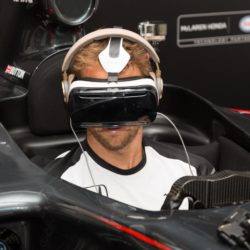 July 1, 2015 - London, London, UK - London, UK. JENSON BUTTON the launch of a virtual reality race experience at Canary Wharf in London today. Fans will be able to enjoy a 360 degree race experience using virtual reality technology. Lapresse Only italyJenson Button al lancio della gara virtuale Canary Wharf