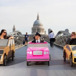 EDITORIAL USE ONLYSoapbox versions of a Range Rover, Bentley and Lamborghini driven by (from the left) Nadina Knight, Declan Doyle and Steve Laurence, all from London, on Millennium Bridge, London, in preparation for the Red Bull Soapbox Race, which will be taking place at Alexandra Palace on 12th July. PRESS ASSOCIATION Photo. Picture date: Thursday July 2, 2015. Watch the Red Bull Soapbox Race exclusively on Dave at 6pm on 12th July as the human-powered soapboxes compete for glory, in front of a panel of judges who will be assessing entries on their speed, creativity and crowd-pleasing antics. Photo credit should read: David Parry/PA Wire Lapresse Only italyThe Red Bull Soapbox Race 2015
