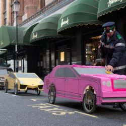 EDITORIAL USE ONLYSoapbox versions of a Range Rover, Bentley and Lamborghini parked up outside Harrods, London, in preparation for the Red Bull Soapbox Race, which will be taking place at Alexandra Palace on 12th July. PRESS ASSOCIATION Photo. Picture date: Thursday July 2, 2015. Watch the Red Bull Soapbox Race exclusively on Dave at 6pm on 12th July as the human-powered soapboxes compete for glory, in front of a panel of judges who will be assessing entries on their speed, creativity and crowd-pleasing antics. Photo credit should read: David Parry/PA Wire Lapresse Only italyThe Red Bull Soapbox Race 2015