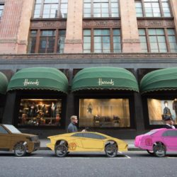 EDITORIAL USE ONLYSoapbox versions of a Range Rover, Bentley and Lamborghini driven by (from the left) Nadina Knight, Steve Laurence and Declan Doyle, all from London, parked up outside Harrods, London, in preparation for the Red Bull Soapbox Race, which will be taking place at Alexandra Palace on 12th July. PRESS ASSOCIATION Photo. Picture date: Thursday July 2, 2015. Watch the Red Bull Soapbox Race exclusively on Dave at 6pm on 12th July as the human-powered soapboxes compete for glory, in front of a panel of judges who will be assessing entries on their speed, creativity and crowd-pleasing antics. Photo credit should read: David Parry/PA Wire Lapresse Only italyThe Red Bull Soapbox Race 2015