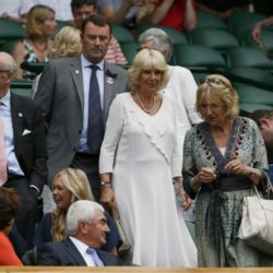 Britain's Camilla, Duchess of Cornwall arrives on centre court to watch Christina McHale of the U.S.A. and Sabine Lisicki of Germany at the Wimbledon Tennis Championships in London, July 2, 2015.          REUTERS/Stefan Wermuth