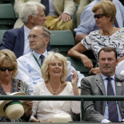 Britain's Camilla, Duchess of Cornwall sits in the royal box on centre court to watch Christina McHale of the U.S.A. and Sabine Lisicki of Germany at the Wimbledon Tennis Championships in London, July 2, 2015.          REUTERS/Stefan Wermuth