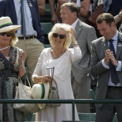 Britain's Camilla, Duchess of Cornwall in the royal box on Court 1 after Andy Murray of Britain won his match against Robin Haase of Netherlands at the Wimbledon Tennis Championships in London, July 2, 2015.           REUTERS/Henry Browne