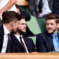 Kit Harington (second left) and Adam Lallana in the royal box during day Four of the Wimbledon Championships at the All England Lawn Tennis and Croquet Club, Wimbledon. PRESS ASSOCIATION Photo. Picture date: Thursday July 2, 2015.  See PA Story TENNIS Wimbledon. Photo credit should read Adam Davy/PA Wire. RESTRICTIONS: Editorial use only. No commercial use without prior written consent of the AELTC. Still image use only - no moving images to emulate broadcast. No superimposing or removal of sponsor/ad logos. Call +44 (0)1158 447447 for further information.