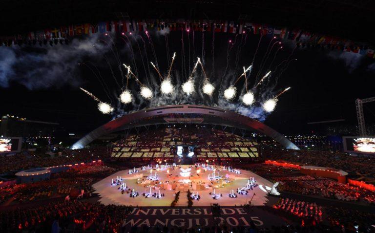 (150703) -- GWANGJU, July 3, 2015 (Xinhua) -- Photo taken on July 3, 2015 shows the opening ceremony of the 28th Summer Universiade in Gwangju, South Korea. (Xinhua/Li Jundong)