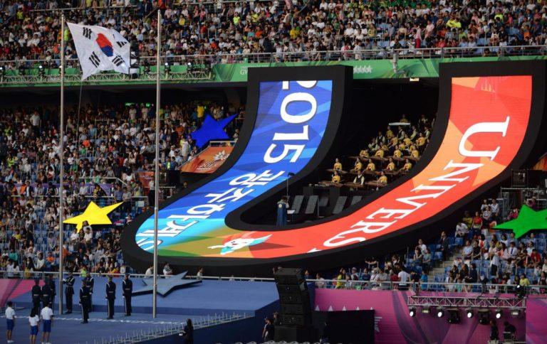 (150703) -- GWANGJU, July 3, 2015 (Xinhua) -- Photo taken on July 3, 2015 shows the opening ceremony of the 28th Summer Universiade in Gwangju, South Korea. (Xinhua/Qin Qing)
