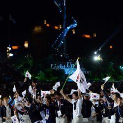 (150703) -- GWANGJU, July 3, 2015 (Xinhua) -- Members of South Korea's delegation enter the site during the opening ceremony of the 28th Summer Universiade in Gwangju, South Korea, on July 3, 2015.  (Xinhua/Tao Xiyi)