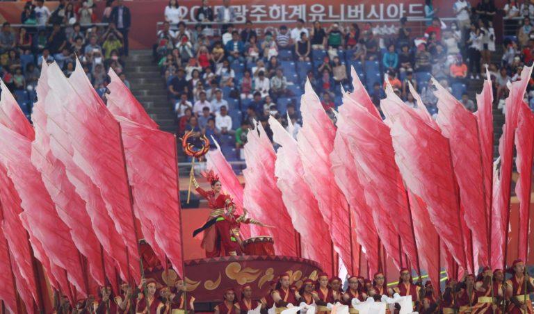 (150703) -- GWANGJU, July 3, 2015 (Xinhua) -- Photo taken on July 3, 2015 shows the opening ceremony of the 28th Summer Universiade in Gwangju, South Korea. (Xinhua/Yao Qilin)