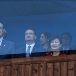 (150703) -- GWANGJU, July 3, 2015 (Xinhua) -- South Korean President Park Geun-Hye (2nd R) attends the opening ceremony of the 28th Summer Universiade in Gwangju, South Korea, on July 3, 2015. (Xinhua/Tao Xiyi)