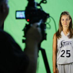 July 4, 2015 - BECKY HAMMON is about to become the first woman to serve as the head coach of an NBA summer league team. San Antonio announced Friday that Hammon will lead the Spurs during summer league play in Las Vegas. She is entering her second season as an assistant coach for the Spurs. Pictured: May 18, 2011 - San Antonio, Texas, U.S. - The WNBA's Silver Stars Becky Hammon stands in front of a green screen at their practice facility, the Antioch Baptist Church recreation center, during the team's media day. Becky Hammon, la prima donna dell'NBA ZumaPressLaPresse  -- Only Italy