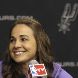 July 4, 2015 - BECKY HAMMON is about to become the first woman to serve as the head coach of an NBA summer league team. San Antonio announced Friday that Hammon will lead the Spurs during summer league play in Las Vegas. She is entering her second season as an assistant coach for the Spurs. Pictured: Aug. 5, 2014 - San Antonio, Texas, USA - WNBA star player Becky Hammon speaks at a press conference after being hired as the NBA's first full-time assistant coach for the San Antonio Spurs. Becky Hammon, la prima donna dell'NBA ZumaPressLaPresse  -- Only Italy