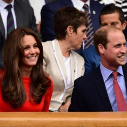 The Duke and Duchess of Cambridge in the Royal Box on day Nine of the Wimbledon Championships at the All England Lawn Tennis and Croquet Club, Wimbledon. PRESS ASSOCIATION Photo. Picture date: Wednesday July 8, 2015.  See PA Story TENNIS Wimbledon. Photo credit should read: Dominic Lipinski/PA Wire. RESTRICTIONS: Editorial use only. No commercial use without prior written consent of the AELTC. Still image use only - no moving images to emulate broadcast. No superimposing or removal of sponsor/ad logos. Call +44 (0)1158 447447 for further information. Lapresse Only italyDuchi di Cambridge assistono in tribuna al Torneo di Wimbledon