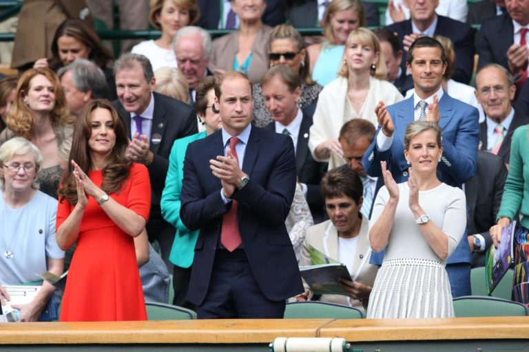 Image licensed to i-Images Picture Agency. 08/07/2015. London, United Kingdom. Duke and Duchess of Cambridge and Countess of Wessex in the Royal box on Centre Court on day nine of the  Wimbledon Tennis Championships in London.  Picture by Stephen Lock / i-Images Lapresse Only italyDuchi di Cambridge assistono in tribuna al Torneo di Wimbledon
