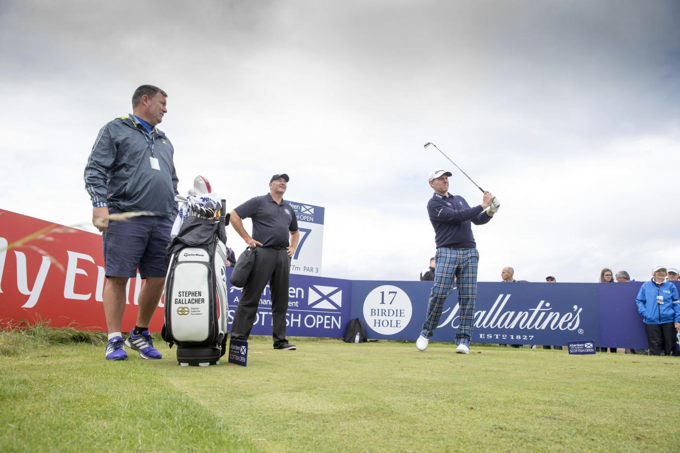 Scotland's Stephen Gallacher hits his tee shot at the 17th hole during a preview day ahead of the Scottish Open at Gullane Golf Club, East Lothian. PRESS ASSOCIATION Photo. Picture date: Wednesday July 8, 2015. See PA story GOLF Gullane. Photo credit should read: Kenny Smith/PA Wire. RESTRICTIONS: Editorial use only. No commercial use. No false commercial association. No video emulation. No manipulation of images.