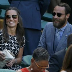 Pippa Middleton and James Middleton on Centre Court at the Wimbledon Tennis Championships in London, July 9, 2015.                                REUTERS/Stefan Wermuth