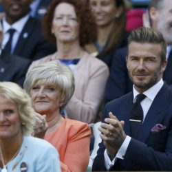 Former footballer David Beckham and his mother Sandra Beckham at the Wimbledon Tennis Championships in London, July 9, 2015.                                 REUTERS/Kirsty Wigglesworth/Pool