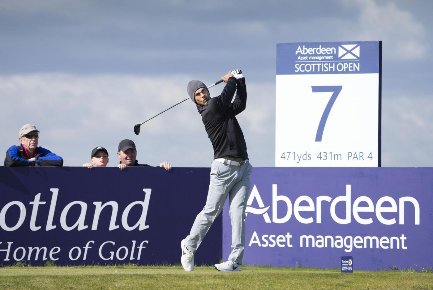 Denmarks Thorbjorn Olesen tees off at the 7th hole during day one of the Scottish Open at Gullane Golf Club, East Lothian. PRESS ASSOCIATION Photo. Picture date: Thursday July 9, 2015. See PA story GOLF Gullane. Photo credit should read: Kenny Smith/PA Wire. RESTRICTIONS: Editorial use only. No commercial use. No false commercial association. No video emulation. No manipulation of images.