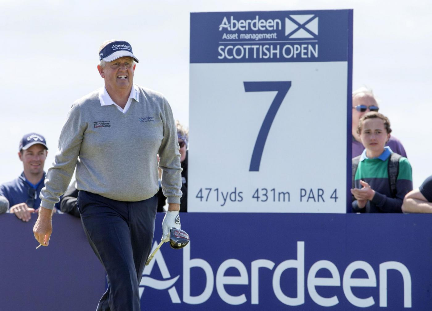 Scotland's Colin Montgomery walks off  the 7th hole during day one of the Scottish Open at Gullane Golf Club, East Lothian. PRESS ASSOCIATION Photo. Picture date: Thursday July 9, 2015. See PA story GOLF Gullane. Photo credit should read: Kenny Smith/PA Wire. RESTRICTIONS: Editorial use only. No commercial use. No false commercial association. No video emulation. No manipulation of images.