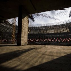 (150710) -- MOSCOW, July 10, 2015 (Xinhua) -- Photo taken on July 9, 2015 shows the interiors of the Luzhniki stadium under reconstruction in Moscow, Russia. Russia will host the FIFA World Cup soccer tournament in 2018. (Xinhua/Li Ming)