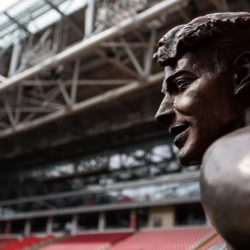 (150710) -- MOSCOW, July 10, 2015 (XINHUA) -- Photo taken on July 9, 2015 shows the bronze statue inside the Spartak stadium in Moscow, Russia. Russia will host the FIFA World Cup soccer tournament in 2018. (Xinhua/Li Ming)