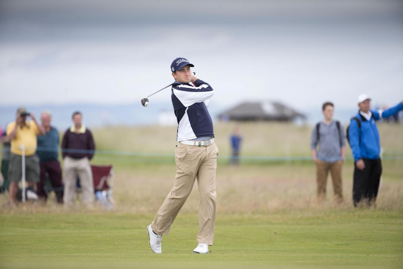 Englishman Daniel Brooks plays his 2nd shot to the 16thduring day two of the Scottish Open at Gullane Golf Club, East Lothian. PRESS ASSOCIATION Photo. Picture date: Friday July 10, 2015. See PA story GOLF Gullane. Photo credit should read: Kenny Smith/PA Wire. RESTRICTIONS: Editorial use only. No commercial use. No false commercial association. No video emulation. No manipulation of images.