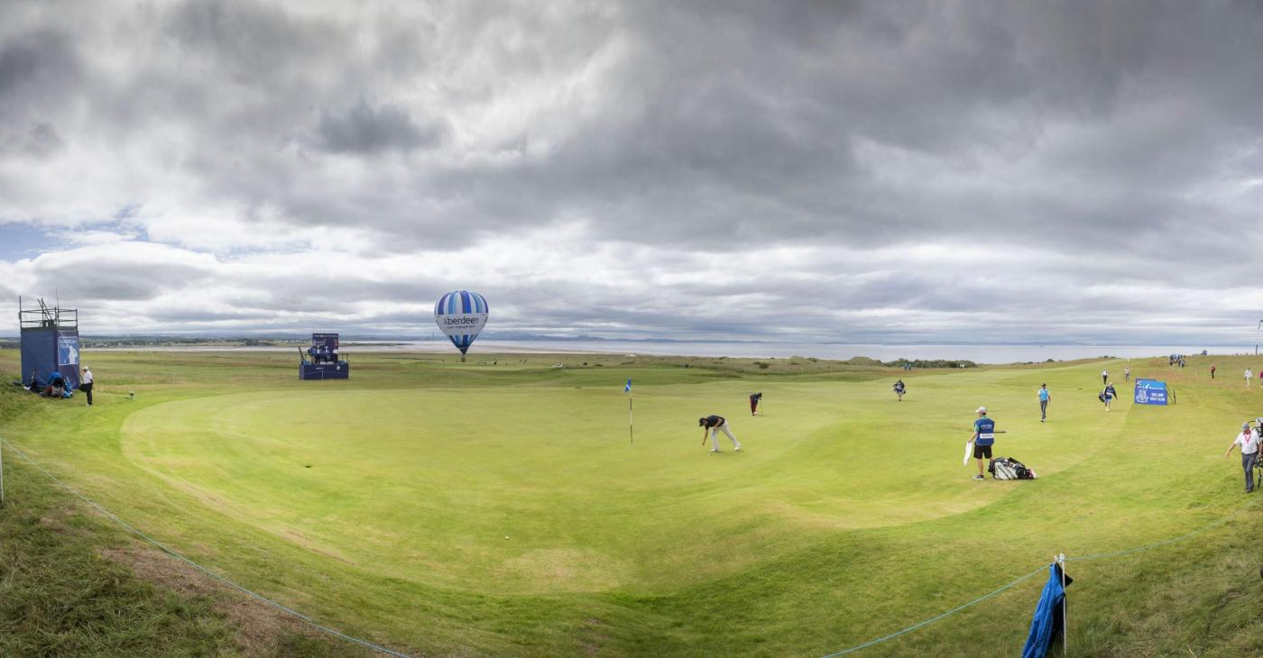 *photo is a composite image of multiple frames* A general view of the 13th green during day two of the Scottish Open at Gullane Golf Club, East Lothian. PRESS ASSOCIATION Photo. Picture date: Friday July 10, 2015. See PA story GOLF Gullane. Photo credit should read: Kenny Smith/PA Wire. RESTRICTIONS: Editorial use only. No commercial use. No false commercial association. No video emulation. No manipulation of images.