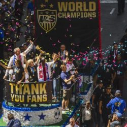 "The U.S. women national soccer team celebrate with the World Cup trophy as fans cheer during the ticker tape parade in New York, July 10, 2015. The World Cup winning U.S. women's football team rolled up New York City's ""Canyon of Heroes"" on Friday, with a blizzard of confetti swirling overhead in the first ticker-tape parade honouring a women's sports team. The U.S. women national soccer team won the World Cup final against Japan. REUTERS/Lucas Jackson"