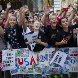 "Fans of the U.S. women's soccer team cheer during the ticker tape parade to celebrate their World Cup final win over Japan on Sunday, in New York, July 10, 2015. The World Cup winning U.S. women's football team rolled up New York City's ""Canyon of Heroes"" on Friday, with a blizzard of confetti swirling overhead in the first ticker-tape parade honouring a women's sports team. REUTERS/Andrew Kelly      TPX IMAGES OF THE DAY"