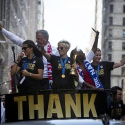 "The U.S. women's soccer team cheer during the ticker tape parade to celebrate their World Cup final win over Japan on Sunday, in New York, July 10, 2015. Screams and a blizzard of confetti cheered the World Cup winning U.S. women's football players as they rolled up New York City's ""Canyon of Heroes"" on Friday in the first ticker-tape parade honouring a women's sports team. REUTERS/Andrew Kelly"