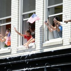 Jul 10, 2015; New York, NY, USA; Fans watch the ticker tape parade to celebrate the United States' Women's World Cup championship. Mandatory Credit: Robert Deutsch-USA TODAY Sports