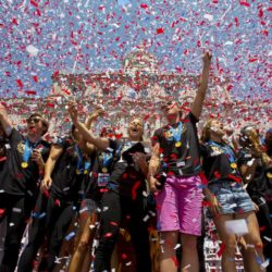 "The U.S. women's soccer team cheer during a reception at New York City Hall hosted by New York City Mayor Bill de Blasio to celebrate their World Cup final win over Japan on Sunday, in New York, July 10, 2015. Screams and a blizzard of confetti cheered the World Cup winning U.S. women's soccer players as they rolled up New York City's ""Canyon of Heroes"" on Friday in the first ticker-tape parade honoring a women's sports team.  REUTERS/Andrew Kelly      TPX IMAGES OF THE DAY"