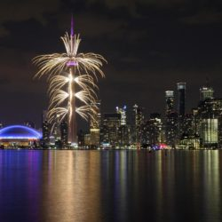 (150711) -- TORONTO, July 11, 2015 (Xinhua) -- Photo taken on July 10, 2015 shows the fireworks during the opening ceremony of the 17th Pan American Games in Toronto, Canada, July 10, 2015.  (Xinhua/Zou Zheng)