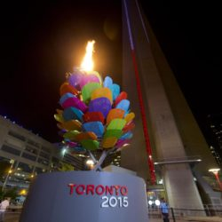 (150711) -- TORONTO, July 11, 2015 (Xinhua) -- Photo taken on July 10, 2015 shows that the cauldron is lighted during the opening ceremony of the 17th Pan American Games in Toronto, Canada, July 10, 2015.  (Xinhua/Zou Zheng)