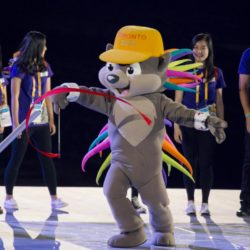 (150711) -- TORONTO, July 11, 2015 (Xinhua) -- Photo taken on July 10, 2015 shows a dressed up mascot Pachi performing during the opening ceremony of the 17th Pan American Games in Toronto, Canada, July 10, 2015.  (Xinhua/Zou Zheng)