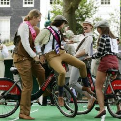 People riding 'Boris Bikes' take part in the Tea Pursuit contest at the Chap Olympiad 2015 in Bedford Square, Bloomsbury, London. The eccentric event  describes itself as a celebration of Britain's sporting ineptitude where sensational cravats take precedence over sweaty lycra. PRESS ASSOCIATION Photo. Picture date: Saturday July 11, 2015. Photo credit should read: Yui Mok/PA Wire
