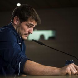 Spanish goalkeeper Iker Casillas address a farewell press conference at Santiago Bernabeu stadium in Madrid, Spain, 12 July 2015. Casillas leaves Real Madrid after 25 years career in Spanish club to play in FC Porto.EFE/Emilio Naranjo
