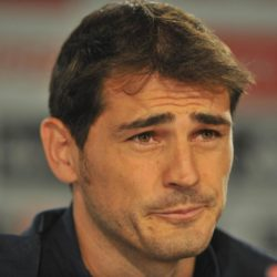 (150712) -- MADRID, July 12, 2015 (Xinhua) -- Real Madrid's goalkeeper Iker Casillas reacts during the press conference at the Santiago Bernabeu stadium in Madrid, Spain, July 12, 2015. The 34-year-old Iker Casillas will leave the Spanish La Liga top club for FC Porto after 25 years. (Xinhua/Xie Haining)