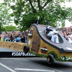 EDITORIAL USE ONLY Team 'Hobbits of The Shire' take part in the Red Bull Soapbox Race, at Alexandra Palace, London. PRESS ASSOCIATION Photo. Picture date: Sunday July 12, 2015. The Red Bull Soapbox Race will be shown exclusively on Dave at 6pm on Sunday. See PA story TRANSPORT Soapbox. Photo credit should read: Doug Peters/PA Wire