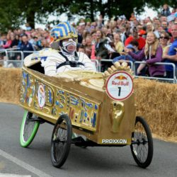 EDITORIAL USE ONLY Team 'Tutenska' take part in the Red Bull Soapbox Race, at Alexandra Palace, London. PRESS ASSOCIATION Photo. Picture date: Sunday July 12, 2015. The Red Bull Soapbox Race will be shown exclusively on Dave at 6pm on Sunday. See PA story TRANSPORT Soapbox. Photo credit should read: Doug Peters/PA Wire