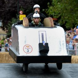 EDITORIAL USE ONLY Team 'Toastosterone' take part in the Red Bull Soapbox Race, at Alexandra Palace, London. PRESS ASSOCIATION Photo. Picture date: Sunday July 12, 2015. The Red Bull Soapbox Race will be shown exclusively on Dave at 6pm on Sunday. See PA story TRANSPORT Soapbox. Photo credit should read: Doug Peters/PA Wire