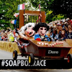EDITORIAL USE ONLY Team 'Vive La Dave' take part in the Red Bull Soapbox Race, at Alexandra Palace, London. PRESS ASSOCIATION Photo. Picture date: Sunday July 12, 2015. The Red Bull Soapbox Race will be shown exclusively on Dave at 6pm on Sunday. See PA story TRANSPORT Soapbox. Photo credit should read: Doug Peters/PA Wire